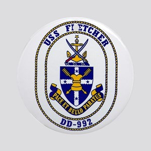 USS Fletcher DD-992 Ornament (Round)