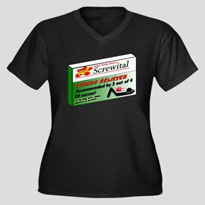 Screwital! Women's Plus Size V-Neck Dark T-Shirt