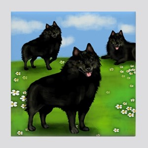 SCHIPPERKE DOGS PARK Tile Coaster