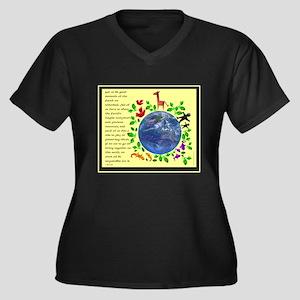 Recycle Women's Plus Size V-Neck Dark T-Shirt