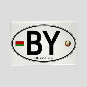Belarus Euro Oval Rectangle Magnet