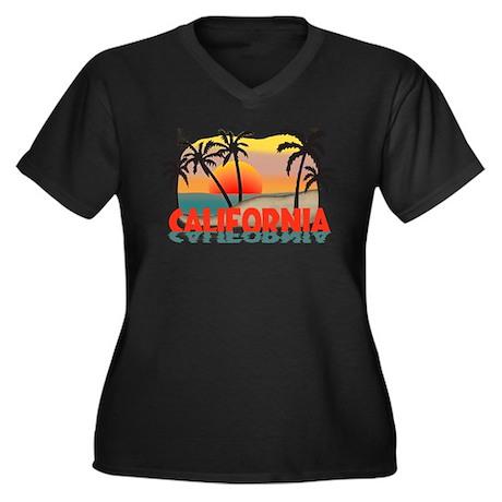 California Beaches Sunset Women's Plus Size V-Neck