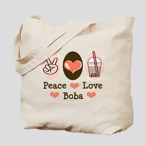 Peace Love Boba Bubble Tea Tote Bag