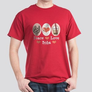 Peace Love Boba Bubble Tea Dark T-Shirt