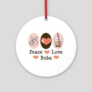 Peace Love Boba Bubble Tea Ornament (Round)