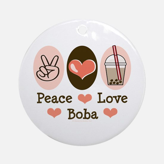 Peace Love Boba Bubble Tea Ornament (Round)