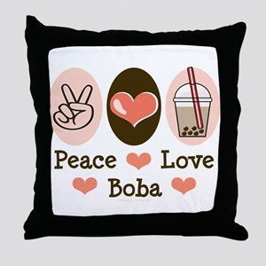 Peace Love Boba Bubble Tea Throw Pillow