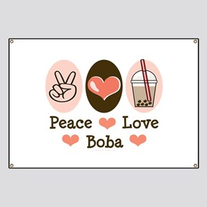 Peace Love Boba Bubble Tea Banner