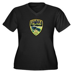 Bear Valley Police Women's Plus Size V-Neck Dark T