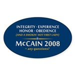 McCain & A Smokin' Hot 1st Lady Sticker (Oval 10 p
