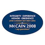 McCain & A Smokin' Hot 1st Lady Oval Sticker