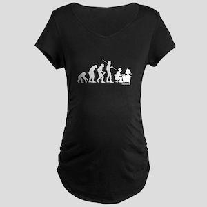 Computer Evolution Maternity Dark T-Shirt
