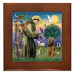Saint Francis & Airedale Framed Tile