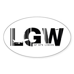 London Gatwick England LGW Airport Oval Decal