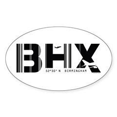 Birmingham England Airport Code BHX Oval Decal