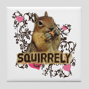 Squirrely Squirrel Lover Tile Coaster
