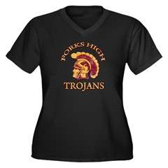 Forks High Trojans Women's Plus Size V-Neck Dark T