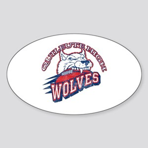 Quileute High Wolves Oval Sticker