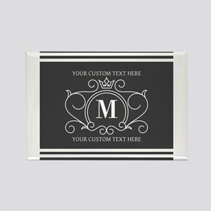 Gray Victorian Stripes Personalized Magnets