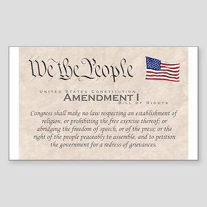 Amendment I w/Flag Rectangle Sticker