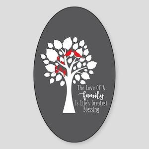 Family Six Birds Sticker (Oval)