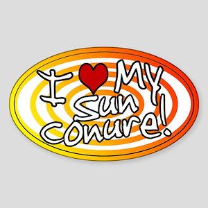 Hypno I Love My Sun Conure Oval Sticker Sunfire
