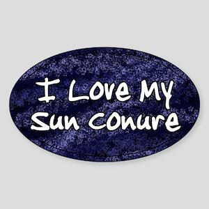 Funky Love Sun Conure Oval Sticker