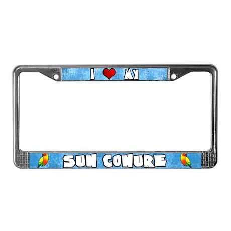 Cartoon Love Sun Conure License Plate Frame