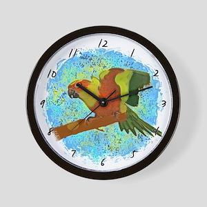 Sun Conure Art Wall Clock
