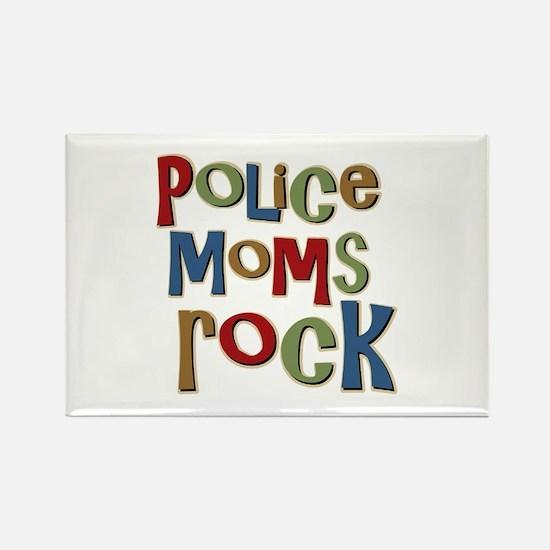 Police Moms Rock Law Enforcem Rectangle Magnet