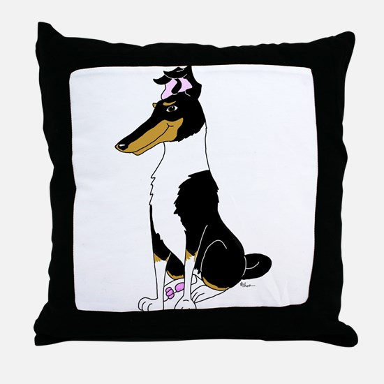 Smooth Tricolor Collie Throw Pillow