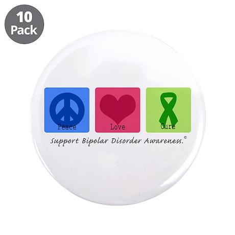 "Peace Love Bipolar 3.5"" Button (10 pack)"