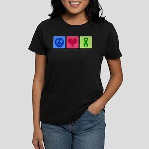 Peace Love Bipolar Women's Dark T-Shirt