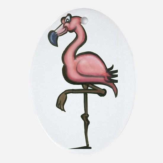 Unique Flamingo yard Oval Ornament