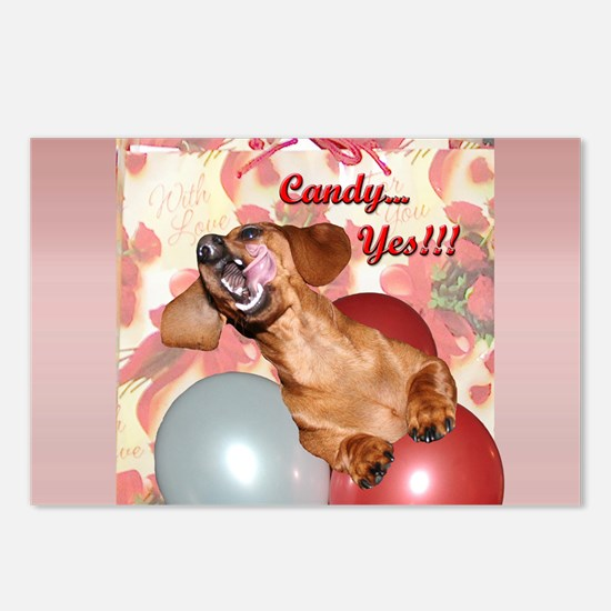 Candy Holiday Dachshund Dog Postcards (Package of