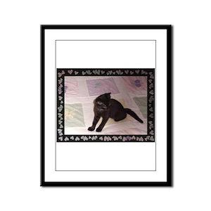 black kitten Framed Panel Print