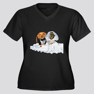 Wedding Dachshunds Dogs Women's Plus Size V-Neck D