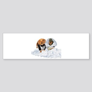 Wedding Dachshunds Dogs Bumper Sticker