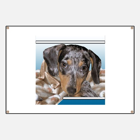 Speckled Dachshund Dogs Banner