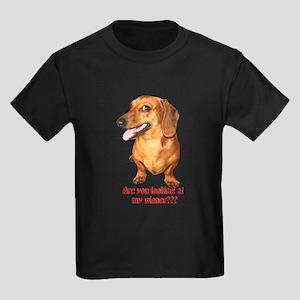 Looking at My Wiener Dachshun Kids Dark T-Shirt