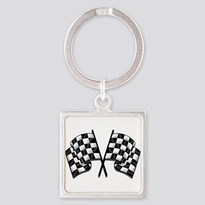 Chequered Flag Square Keychain