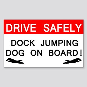 Dock Jumping Dog on Board Rectangle Sticker