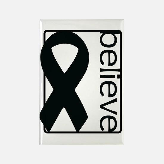 White (Believe) Ribbon Rectangle Magnet