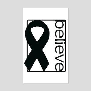 White (Believe) Ribbon Rectangle Sticker