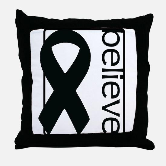 White (Believe) Ribbon Throw Pillow