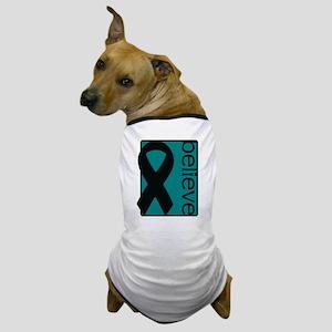 Teal (Believe) Ribbon Dog T-Shirt