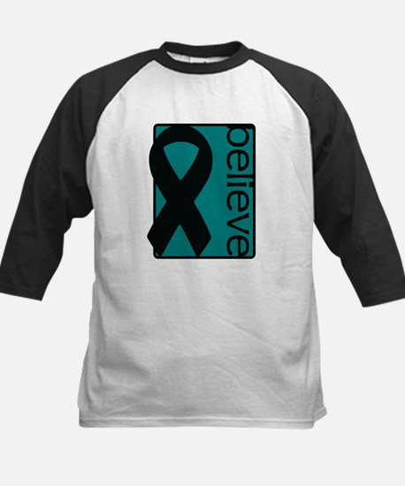Teal (Believe) Ribbon Kids Baseball Jersey