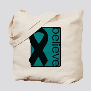 Teal (Believe) Ribbon Tote Bag