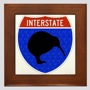 U.S. Interstate Vintage Kiwi Framed Tile