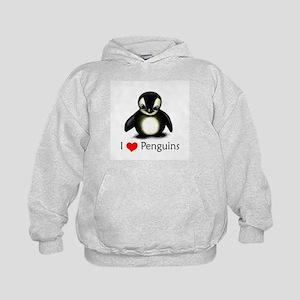 I Love Penguins Kids Hoodie